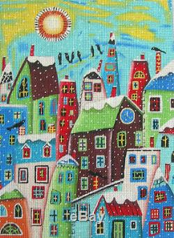 LOTS OF HOUSES Hand Painted Needlepoint Canvas by Maggie