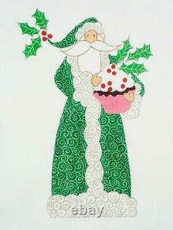 Large Cupcake SANTA in Green handpainted Needlepoint Canvas by Curtis Boehringer
