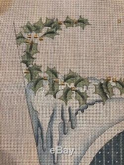 Large Hand Painted Needlepoint Canvas Christmas Stocking Tree With Hearts Deer