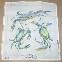 Lee Blue Crabs Handpainted Needlepoint Canvas