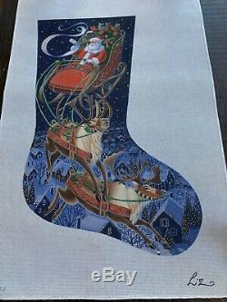 Liz Hand-painted Needlepoint Canvas Santa & His Sleigh & Reindeer