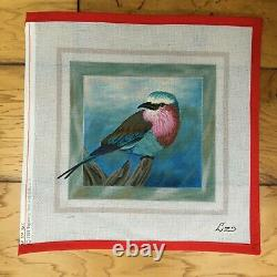 Liz Lilac Breasted Roller Bird Handpainted Needlepoint Canvas Vintage 90s 1997