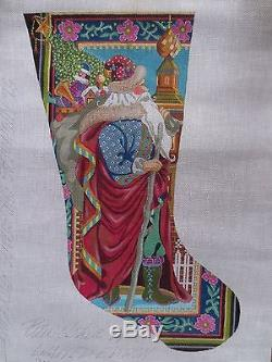 Lmt ed signed PETER ASHE HP handpainted st nicholas stocking NEEDLEPOINT canvas