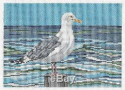 Lone Seagull handpainted 18 mesh Needlepoint Canvas by Needle Crossings