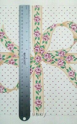 MARCY needlepoint handpainted canvas 1959 Pillow Pindot Ribbon w Roses 12sq 13m