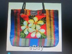 MAUI KIT With BAG/LEATHER TRIM-PISCHKE POCKETS-HANDPAINTED NEEDLEPOINT CANVAS