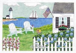 MBM Cottage by the Sea Nantucket, New England handpainted Needlepoint Canvas