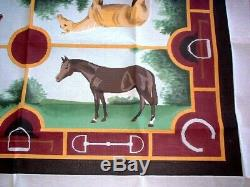 MZC Huge 36x58 Equestrian Horse Rug Carpet HP Hand Painted Needlepoint Canvas