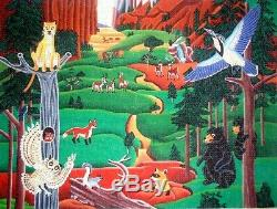 MZC Northwoods Forest Birds Animals Mountains HP Hand Painted Needlepoint Canvas
