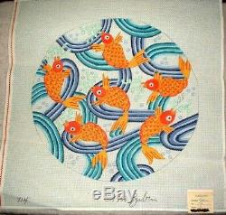 MZC Oriental Koi Fish Round Pillow Top HP Hand Painted Needlepoint Canvas