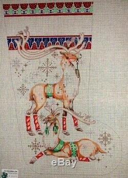 MZC Reindeer Xmas Stocking Hand Painted Needlepoint Canvas by Edie & Ginger