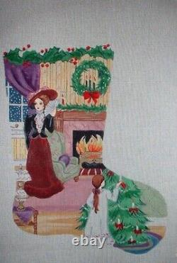 MZC Victorian Girl Christmas Stocking Hand Painted Needlepoint Canvas
