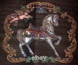 MZC Victorian Horse & Angel Vintage Hand Painted Needlepoint Canvas