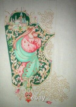 Medieval Castle & Lady Christmas Stocking HP Hand Painted Needlepoint Canvas GJ