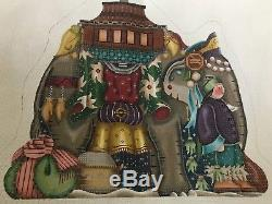 Melissa Shirley Designs 218-L Stand Up Nativity Elephant Hand Painted Canvases