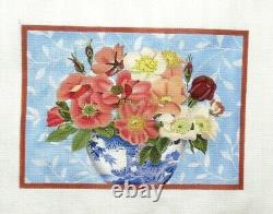 Melissa Shirley Designs Floral Basket Handpainted HP Needlepoint Canvas PP