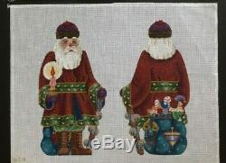 Melissa Shirley Designs Hand-painted Needlepoint Canvas 2-Sided Santa/Candle