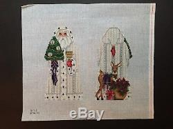 Melissa Shirley Designs Hand-painted Needlepoint Canvas 2-Sided Santa/Fawn/Plant