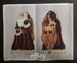 Melissa Shirley Designs Hand-painted Needlepoint Canvas 2-Sided Santa & Toy Bag