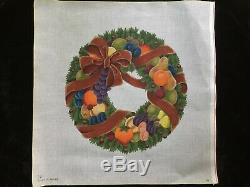 Melissa Shirley Designs Hand-painted Needlepoint Canvas Large Wreath With Fruit