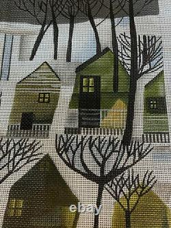Melissa Shirley Designs Snow Houses NeedlepointHand Painted Canvas W Threads, NEW