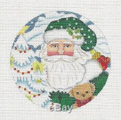 Melissa Shirley Elegant Santa in Green with Toy handpainted Needlepoint Ornament