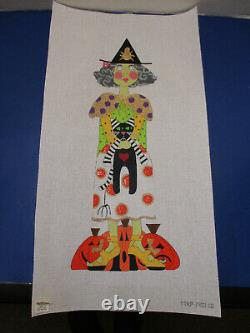 Mile High Princess Halloween HUGE Witch with Cat Handpainted Needlepoint Canvas