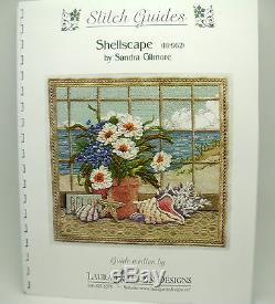 NEEDLEPOINT HANDPAINTED Canvas Sandra Gilmore SHELLSCAPE with STITCH GUIDE 11x10