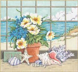 NEEDLEPOINT HANDPAINTED Canvas Sandra Gilmore SHELLSCAPE with STITCH GUIDE 15x14