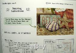 NEEDLEPOINT HANDPAINTED Canvas Sandra Gilmore SHELLSCAPE with STITCH GUIDE Beach