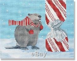 NEEDLEPOINT Handpainted CHRISTMAS Scott Church BEAVER with Candy Cane