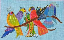 NEEDLEPOINT Handpainted Danji Laurel Burch SONGBIRDS 16x10