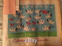 NEW CLEMENTINE HUNTER HAND-PAINTED NEEDLEPOINT CANVAS 20 x 16 ANGELS