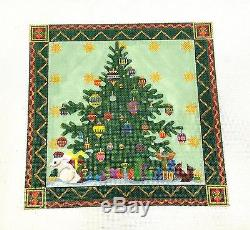 NEW Christmas Tree, Gifts with Border handpainted Needlepoint Canvas M. Shirley