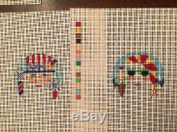 NEW Hand Painted needlepoint canvas featuring 12 months of Santa by Shelly Tribb