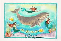 NEW LG. The Mermaid's Song & Whale handpainted Needlepoint Canvas Renaissance