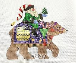NEW Santa Riding a Brown Bear handpainted 24 mesh Needlepoint by B. Stofft