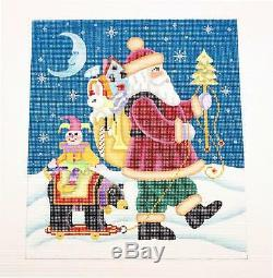 NEW Santa with a Pull Toy HP 18mesh Needlepoint Canvas by Brenda Stofft