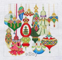 NEW Strictly Christmas ELEGANT ORNAMENTS handpainted Needlepoint Canvas 18m