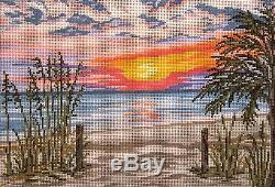 NEW Sunset Beach handpainted 18 mesh Needlepoint Canvas by Needle Crossings