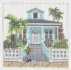 NEW Tropical Bungalow House handpainted Needlepoint Canvas Needle Crossings