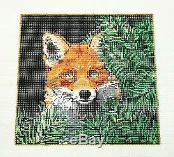 NEW VIXEN Red Fox in Pines Needlepoint Canvas handpainted by Sandra Gilmore