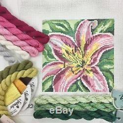 Needle Crossings Handpainted Needlepoint Canvas KIT Pink Daylily flower Lily