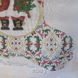 Needlepoint 23 Hand painted Strictly Christmas Stocking Canvas Santa And Toys