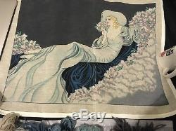 Needlepoint Canvas Lady Reclining Handpainted Large 24 x 30