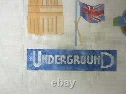 Needlepoint Canvas London Collage Hand Painted by Emma Ball PEB 013