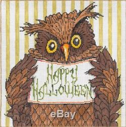 Needlepoint HANDPAINTED SANDRA GILMORE Halloween OWL Oliver withStitch Guide 18M