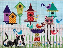 Needlepoint HandPainted JP Needlepoint BIRDS of Feather and CATS 11x14