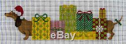Needlepoint HandPainted JP Needlepoint CHRISTMAS Princess and Her Packages 17x6