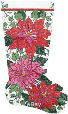 Needlepoint HandPainted LEE Christmas Stocking POINSETTIA and IVY 23